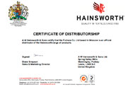 Сертификат A W Hainsworth & Sons Ltd